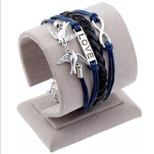Fashion Leather Wrap Charm Bracelet